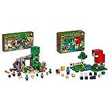 LEGO Minecraft La Mina de Creeper, Juguete de construcción de Refugio del Herrero, Set Inspirado en el Videojuego, Novedad 2019 (21155) + La Granja de Lana, Juguete de Constucción