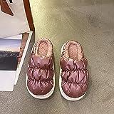 Zapatillas Peluche Algodón Suave,Zapatillas de Piel Calientes de Fondo Grueso, Mujer Usan Bolsas de otoño e Invierno Zapatillas de algodón-Púrpura_40-41,Lana de Coral Zapatillas de Estar por Casa
