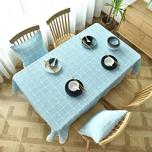WSJIABIN Home Decor Tablecloth Modern Simple Blue Plaid ThickenCover Towel Living Room Bedroom Linen Tablecloth Tablecloth