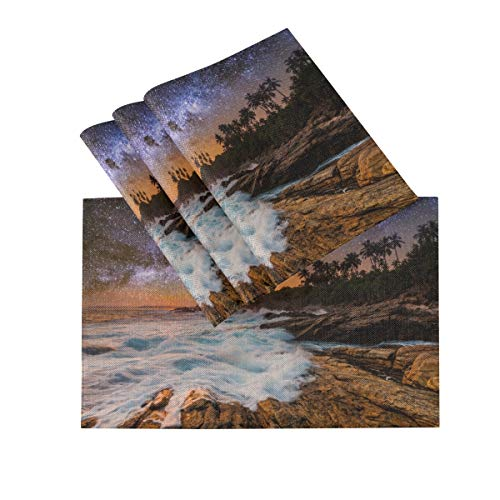 Placemats Set Of 4, Heat Insulation Washable Place Mats, Jc Tropical Beach Palm Trees Under Starry 18 X 12 Inches Kitchen Table Mats Placemat For Dining Table