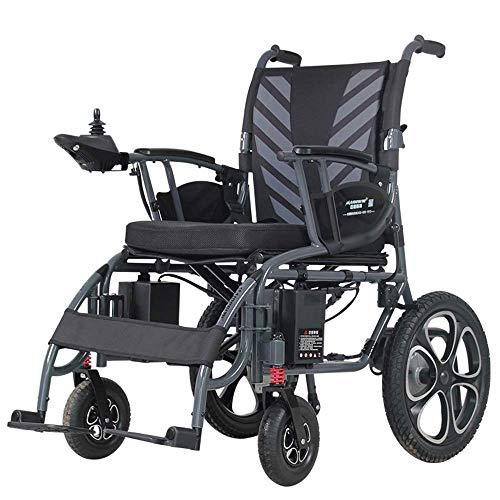 Wheelchair Silla de Ruedas eléctrica Plegable Silla eléctrica Liviana 50 lbs Abierta/Plegable en 1 Segundo, Marco de aleación de Aluminio Absorción de Choque en Las Cuatro Ruedas con Freno de Mano