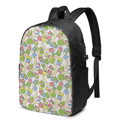 Laptop Backpack with USB Port Random Circles Curvy, Business Travel Bag, College School Computer Rucksack Bag for Men Women 17 Inch Laptop Notebook