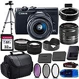 Canon EOS M100 Mirrorless Digital Camera (Black) & 15-45mm STM Lens w/EOS M Mount Adapter + 32GB Transcend Memory Card, Shoulder Bag & Essential Accessory Bundle (Renewed)