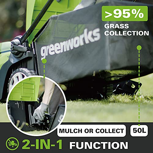 Greenworks Cordless Lawnmower G40LM41K2X (Li-Ion 40 V 41cm Cutting Width up to 500msq 2in1 Mulching & Mowing 50 l Grass Bag 5-level Central Cutting Height Adjustment Incl. 2 Battery 2Ah & Charger