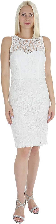Marina Women's Short ALine Sleeveless Dress with Cut in Neckline and Back Keyhole