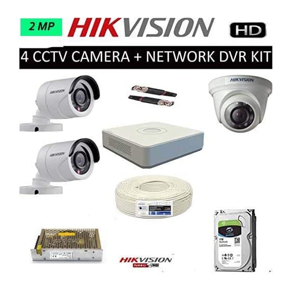 HIKVISION Full HD 2MP Cameras Combo KIT 4CH HD DVR+ 2 Bullet Cameras + 1 Dome Cameras+1TB Hard DISC+ Wire ROLL +Supply & All Required CONNECTORS