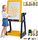 Kid's Art Easel, Double-Sided Whiteboard & Chalkboard, Adjustable Height,Creative Education & Craft Supplies