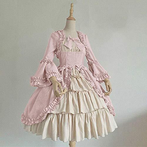 B/H Vestido de época Medieval,Vestido Medieval de Palacio gótico Vintage con Pajarita-Pink_3XL,Elegante Vestido Noche de Estilo Medieval
