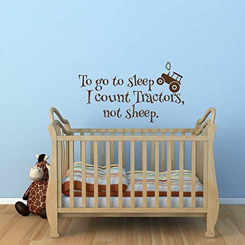 To Go to Sleep I Count Tractors Not Sheep Autocollant mural pour chambre d'enfant Motif tracteurs non moutons