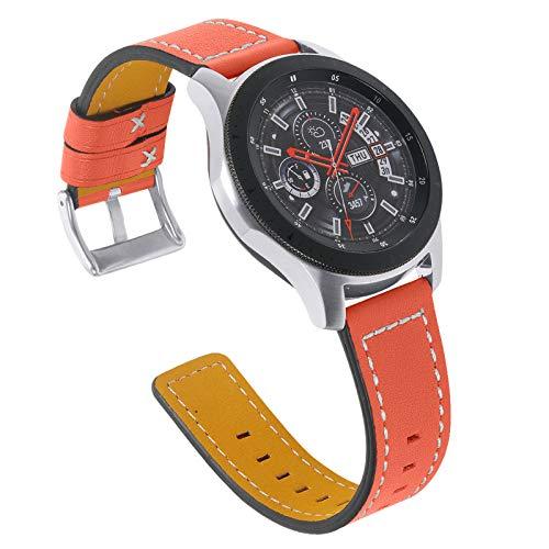 RuiRdot Correa Gear 2 R380, 5.5'-8.0' Pulsera de Cuero Genuino Suave Correa de Repuesto Ajustable Compatible con Galaxy Watch 3 45mm /Galaxy Watch 46mm/Gear S3 Frontier/Classic (R04)