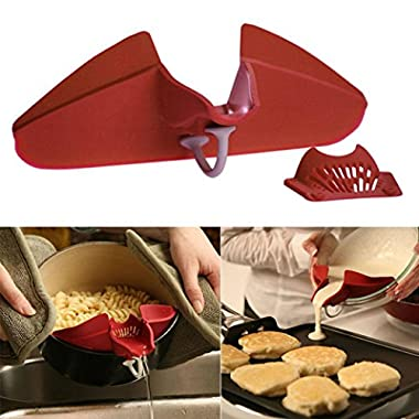 Cooking Tool,Hot Silicone Soup Funnel Kitchen Gadget Tools Water Deflector Cooking Tool New (Red)