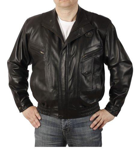 Veste en cuir homme coupe ample style blouson - Taille 2XL
