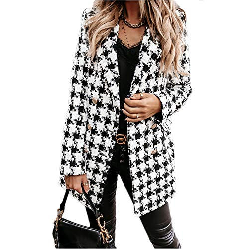 Katenyl Abrigo de longitud media de doble botonadura con estampado a cuadros para mujer Chaqueta de solapa ajustada y transpirable cómoda y cómoda XL