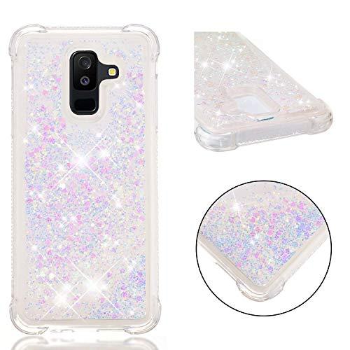 Galaxy A6 Plus 2018 Coque Silicone Paillette, Galaxy A6 Plus 2018 Étui de Protection, 3D Sables Mouvant Transparente Brillante Liquide Glitter Souple Silicone Couverture pour Samsung Galaxy A6 Plus