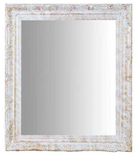 Biscottini Specchio, Specchiera rettangolare da parete, da appendere al muro orizzontale verticale, Shabby chic, trucco, bagno, cornice finitura colore argento anticato, L64xPR4xH74 cm. Stile shabby chic.