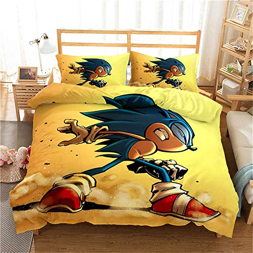 Anwind Kids Duvet Cover Sonic The Hedgehog Anime Characters Printed Boys Girls Teens Quilt Cover and Pillowcase Bedroom Decoration Bedding Set (B-1, Super King 220x260cm)