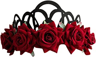 Women Vintage Red Rose Queen Hair Band Crown Cosplay Accessories Flower Wreath Party Costume Cosplay Headband