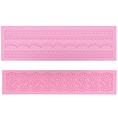 Prokitchen Large Flower Lace Fondant Molds Silicone Lace Embosser Mold Fondant Impression Mats for Cake Decorating Set of 2 (Pink)
