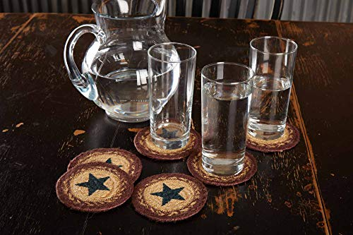VHC Brands Potomac Table Décor, Coaster Set, Burgundy