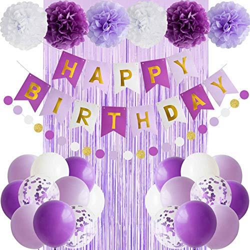 ANSOMO Purple Happy Birthday Party Decorations Banner Balloons Foil Fringe Curtains- Purple Lavender White Gold