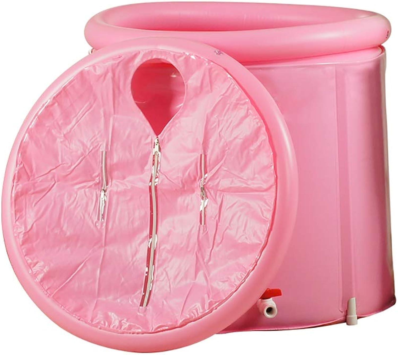 HAIYING Adult Bath Barrel, Bath Barrel Folding Bath Tub Free Inflatable Bath Insulation Bath Barrel Plastic, Pink 80  80cm (color   Pink)