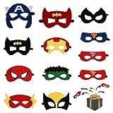 Mizijia Máscaras de Superhéroe, Máscaras de Fiesta, Máscaras de Fieltro, Máscaras Para Niños de Cosplay con Cuerda Elástica Halloween 12 Piezas