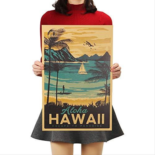 Aloha Hawaii Berühmte Touristische Landschaftsmalerei Kraftpapier Bar Poster Vintage Dekorative Malerei Wandaufkleber 51x34 Cm