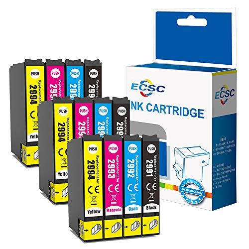 ECSC Compatibile Inchiostro Cartuccia Sostituzione Per Epson XP455 XP452 XP445 XP442 XP435 XP432 XP355 XP352 XP345 XP342 XP335 XP332 XP257 XP255 XP247 XP245 XP235 29XL (B/C/M/Y, 12-Pack)