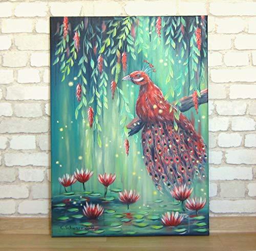Acrylgemälde PURPLE PEACOCK 50cmx70cm auf Leinwand, abstrakt