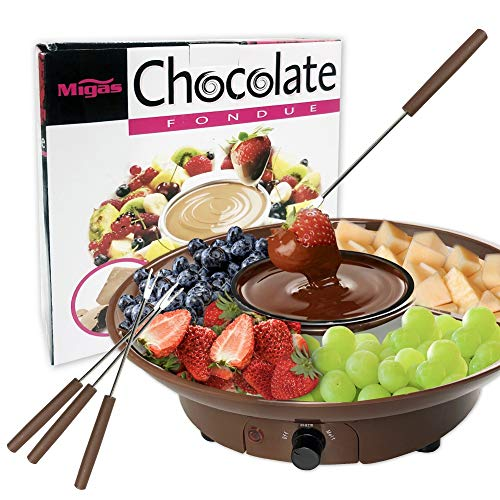 Chocolate Fondue Maker  110V Electric Chocolate Melting Pot Set with Stainless Steel Bowl Serving Tray 4 Steel Forks Brown