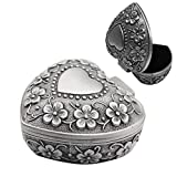 WESEEDOO Boîte à bijoux en forme de cœur - Présentoir à bijoux - Argenté - Boîte à bijoux vintage