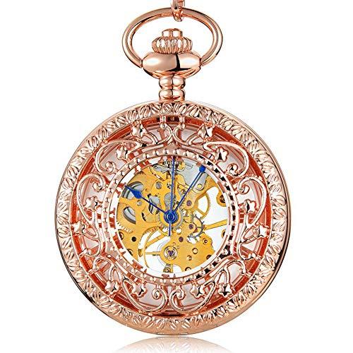 LEYUANA Reloj de Bolsillo mecánico Retro para Hombres, Relojes de Cuerda Manual, Esqueleto de Escultura Hueca Steampunk, número Romano, Esfera de Oro Rosa