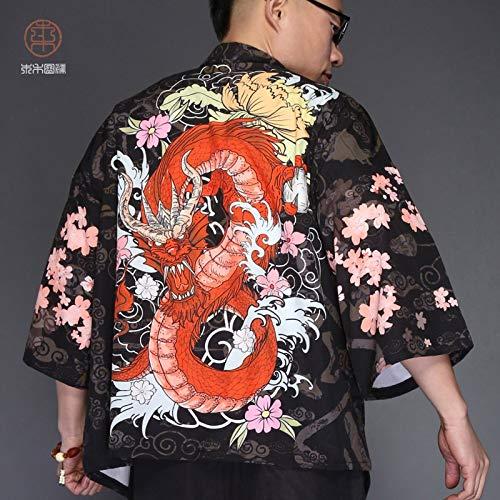 RSL in Stile Giapponese Kimono Maschile Giacca a Vento Chinese Dragon T-Shirt Abbigliamento Cinese Costume Mantello a Maniche Lunghe Giacca Cappotto Primavera Vestaglia Giapponese