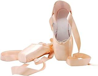 s.lemon Danse Ballet Chaussures de Pointe Satin avec Ruban pour Filles Femmes Rose