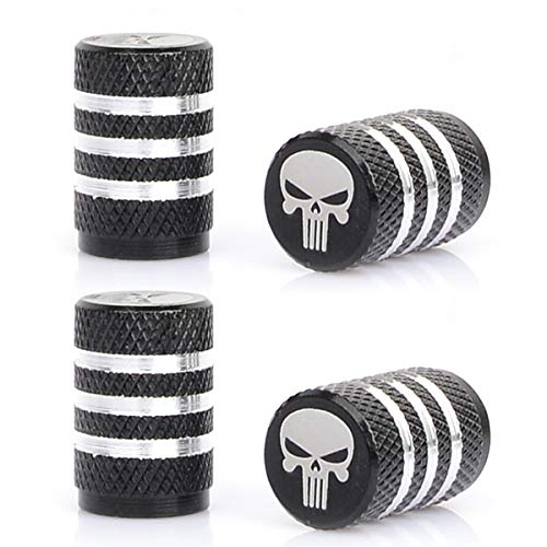 MonboAuto Car Tire Air Valve Caps- Punisher Skull Wheel Rim Stem Cap Cover Logo Emblem Metal Dust-Proof Universal fit for All Car SUVof Dust-Proof Universal fit for Cars SUV Truck Motorcycles
