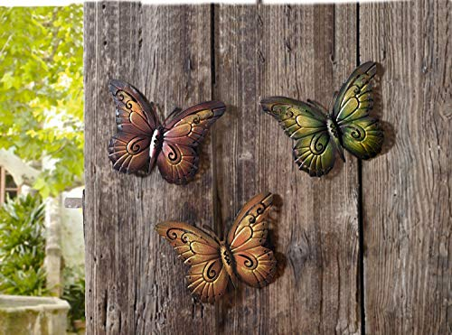 "Metal decoration ""butterfly"" set of 3"