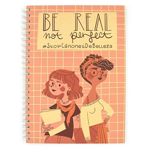 Recuerding - Libreta A5 con Voz #StopCánonesDeBelleza, 80 Hojas (160 Páginas) | Moderna, Original, de Anillas y Tapa Dura | Papel Reciclado | Temática Be Real Not Perfect | Feminismo | Feminista
