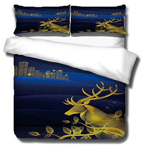 Prinbag City high-rise sika deer graffiti duvet cover 3-piece bedding