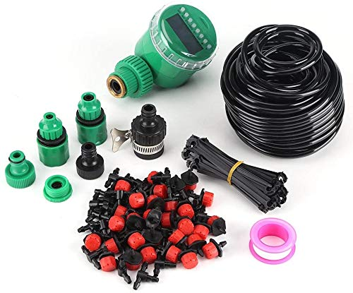 rouroumaoyi Drip Irrigation Kit, 25m Plant Self Watering Garden Hose DIY Micro Drip Irrigation System with Timer Kits for Garden Greenhouse, Flower Bed,Patio,Lawn Watering Use