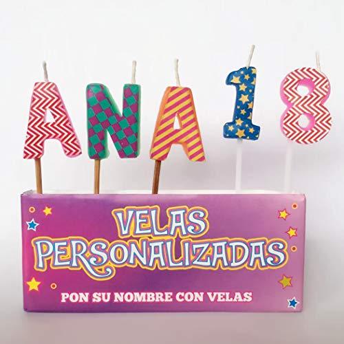 通用 ASGRADO Velas de cumpleaños con Nombre y Numero Colores,Regalo de cumpleaños, Personalizadas