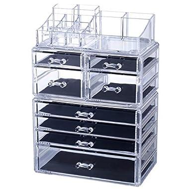 Homde X-Large Acrylic Makeup Organizer Jewelry & Cosmetic Storage Case Desk Organizer for Office Counter Dresser Bathroom