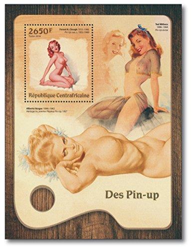 Pin-ups  Briefmarken-Block   Zentralafrika   Forest H. Clough   Pin-up Gemälde  Alberto Vargas   Ted Withers