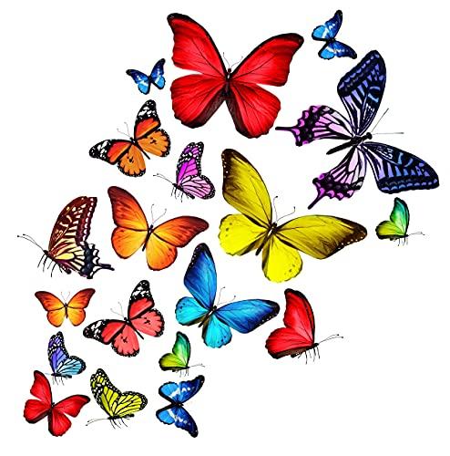 Art Applique Schmetterlinge Aufkleber für Auto & Fahrrad - Selbstklebende Dekoration mit Schmetterling, für Fahrzeug, Wand & Möbel - Transparentes Vinyl, stark & wetterfest - 25 STK.