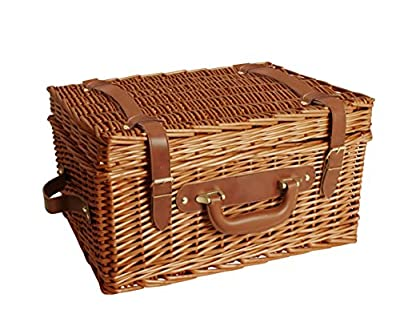 """Wald Imports Brown Wicker 17"""" Picnic Basket"""