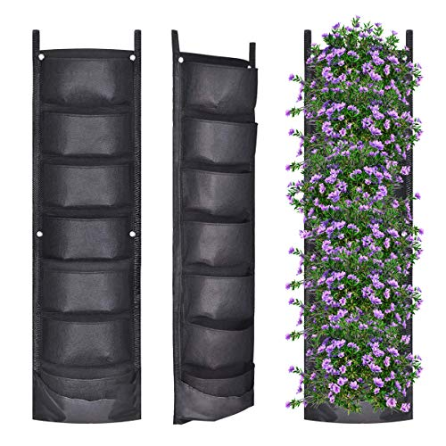 YSBER 2 Pack New Upgraded Deeper and Bigger Vertical Wall Garden Planter Felt Wall Mount Planter Pouch for Yard Garden Home Decoration. (2 Pack-7 Pockets)