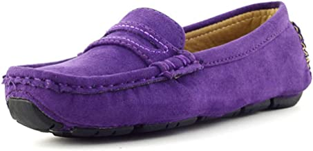 Ying-xinguang Kid's Shoe Casual Boy's Casual Driving Loafer Girl's Suede Microfiber Leather Penny Moccasins Kid's Boat Shoes Comfortable (Color : Purple, Size : 11 UK Child)
