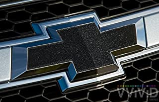 VVIVID Black Metallic Auto Emblem Vinyl Wrap Overlay Cut-Your-Own Decal For Chevy Bowtie Grill, Rear Logo Diy Easy To Install 11.80 Inches x 4 Inches Sheets (x2)