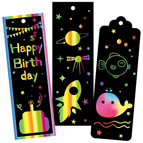 FANCY LAND 60 Set Scratch Bookmarks Easter Crafts Scratch Paper Art Rainbow Gift Tags Party Pack Easter Birthday School Crafts for Kids