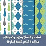 fathers day custom themed scrapbook 40 sheet double sided 4 pattern: card making DIY crafting - origami - decoupage - paper craft - collage art - kirigami - Decorative crafting Paper for Card Making
