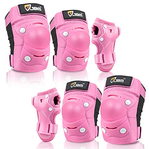 JBM Kids / Child Knee Pads and Elbow Pads with Wrist Guards 3 in 1 Protective Gear Set for Children Outdoor Activities' Adventure (Pink, (3-5 years old))